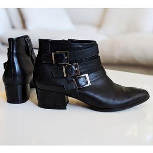 Via Spiga Black Leather Buckles Ankle Boots 8.5